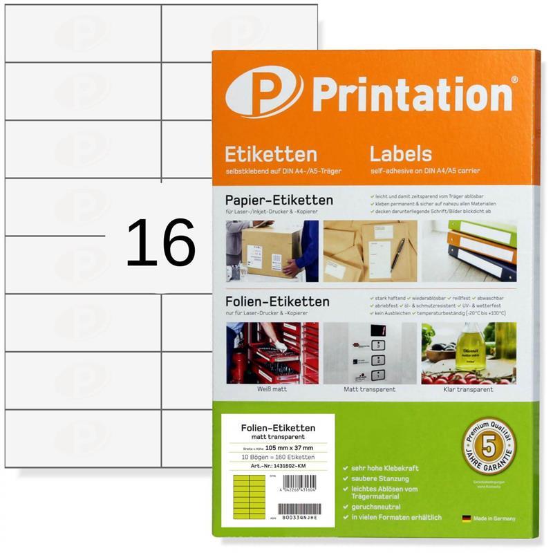 Etiketten 105 x 37 mm wetterfest transparent Laserdrucker bedruckbar A4