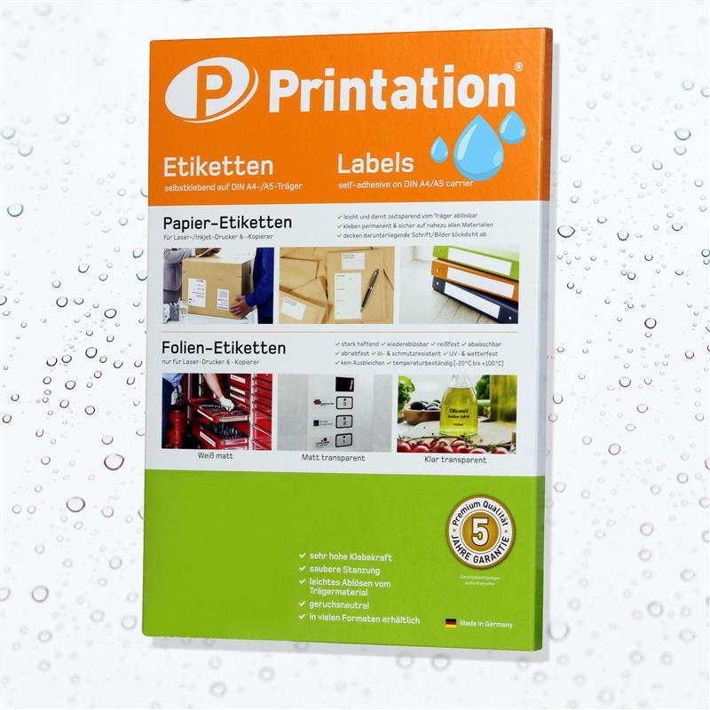 Printation Folienetiketten Auswahl transparent glasklar weiß DIN A4