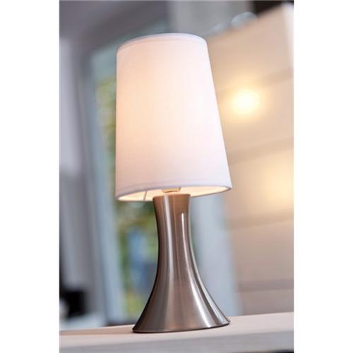 Tischlampe mit Dimmer mit Touch me Funktion 3 Stufen mit Edelstahlfuss mit weiss