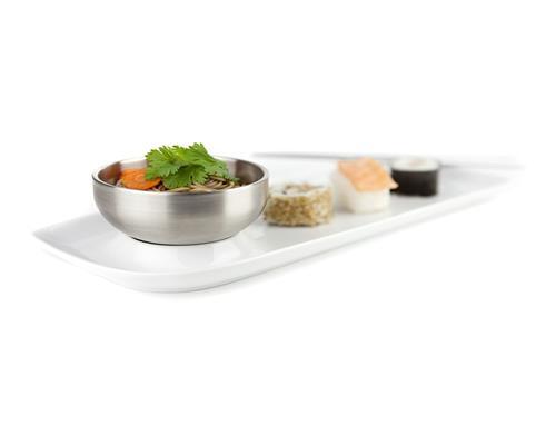 Servierteller aus Porzellan mit Edelstahlschüssel für Sushi Tapas und Snacks