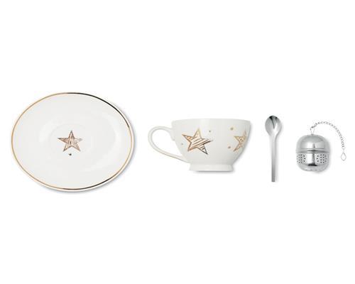 Teetasse Sieb Set Weihnachten X-Mas Tee-Ei Tassenset Untertasse Löffel