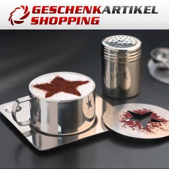Cappuccino Set aus Edelstahl mit Zierschablonen 6-tlg.
