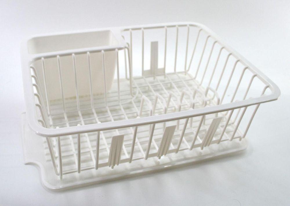 abtropfgitter mit tablett wei abtropfgestell 2 tlg abtropfkorb sp lablage ebay. Black Bedroom Furniture Sets. Home Design Ideas