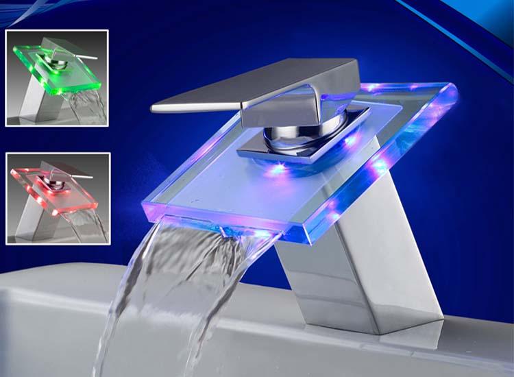 Beleuchteter glas led wasserhahn badarmatur wasserfall - Armatur wasserfall ...