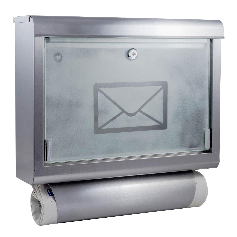 Edelstahl Briefkasten Mit Zeitungsrolle Postkasten Hausbriefkasten