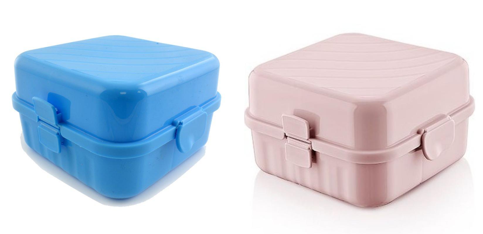 2er set lunchbox blau und rosa mit 4 f cher kinder vesperdose brotdose vesperbox ebay. Black Bedroom Furniture Sets. Home Design Ideas