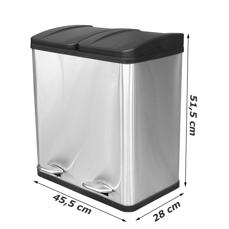 Details zu Duo Küchen Mülleimer 2x20 Liter Abfalleimer Treteimer Mülltrenner Müllsammler