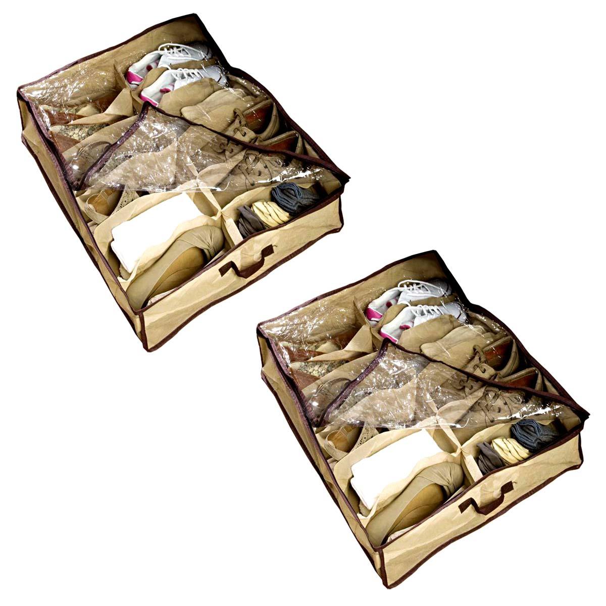 2x unterbettbox schuhe 12 f cher schuhaufbewahrung bett unterbettkommode ebay. Black Bedroom Furniture Sets. Home Design Ideas