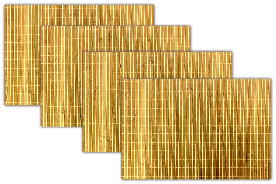 4x Tischmatten Aus Bambus Braun Platzset Platzdeckchen Tischset