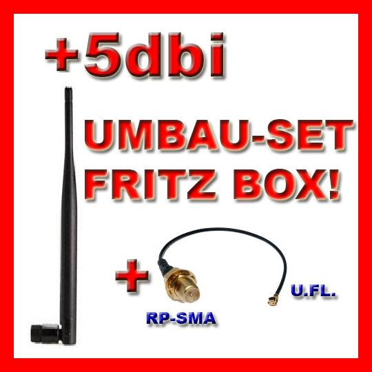 UMBAUSET AVM FRITZBOX | PIGTAIL + 5dBi ANTENNE | US