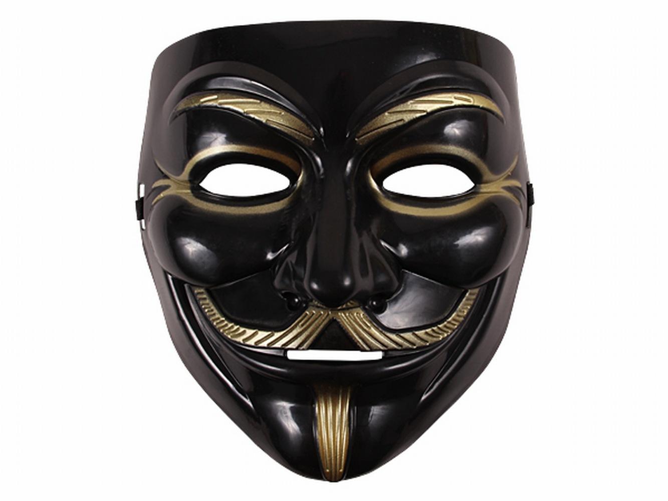 guy fawkes maske schwarz gold v wie vendetta anonymous cosplay halloween ebay. Black Bedroom Furniture Sets. Home Design Ideas