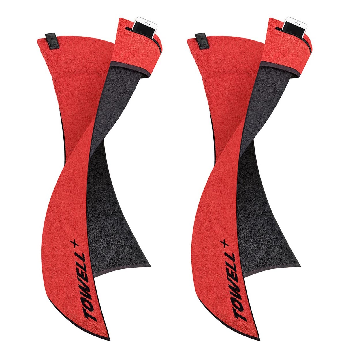 2x TOWELL Fitness Sporthandtuch 40x90cm mit Tasche Baumwolle Rot | 2er_Towell