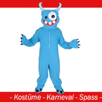 Monster Kostüm blau - Gr. M - L - (XL)