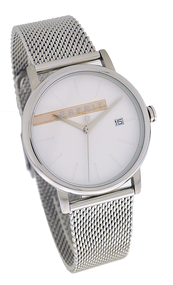 Esprit ES1G047M0045 Timber Silver Mesh Herrenuhr UVP:119,90€ 11588