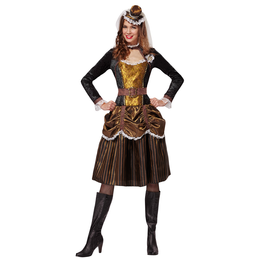 steampunk damen kost m karneval viktorianisch fantasy. Black Bedroom Furniture Sets. Home Design Ideas