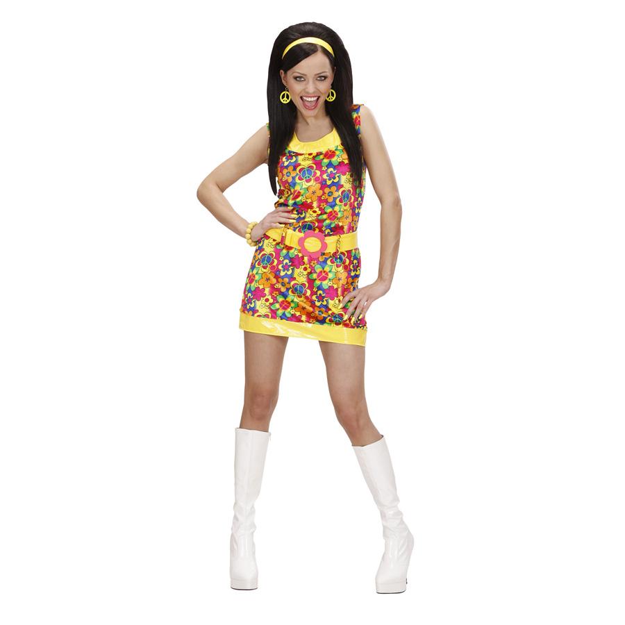 FLOWER POWER HIPPIEKOSTÜM # 60er 70er Jahre Damen Kleid Schlager Hippie Kostüm