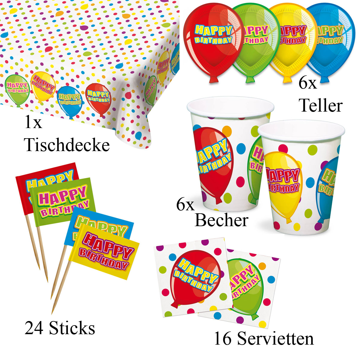 Geburtstags Tischdeko Set 5 Produkte F10200