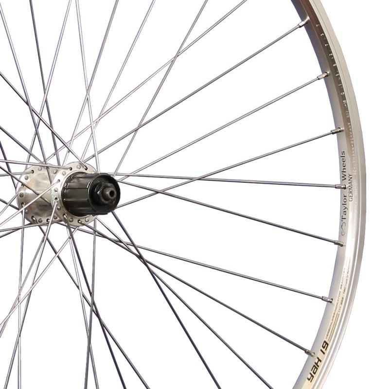 Taylor Wheels 28inch bike rear wheel Yak19 with Shimano 7 speed cassette silver