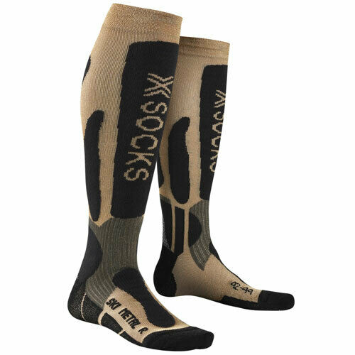 X-Socks Skisocken Skistrümpfe Wintersocken Thermosocke SKI METAL gold/schwarz