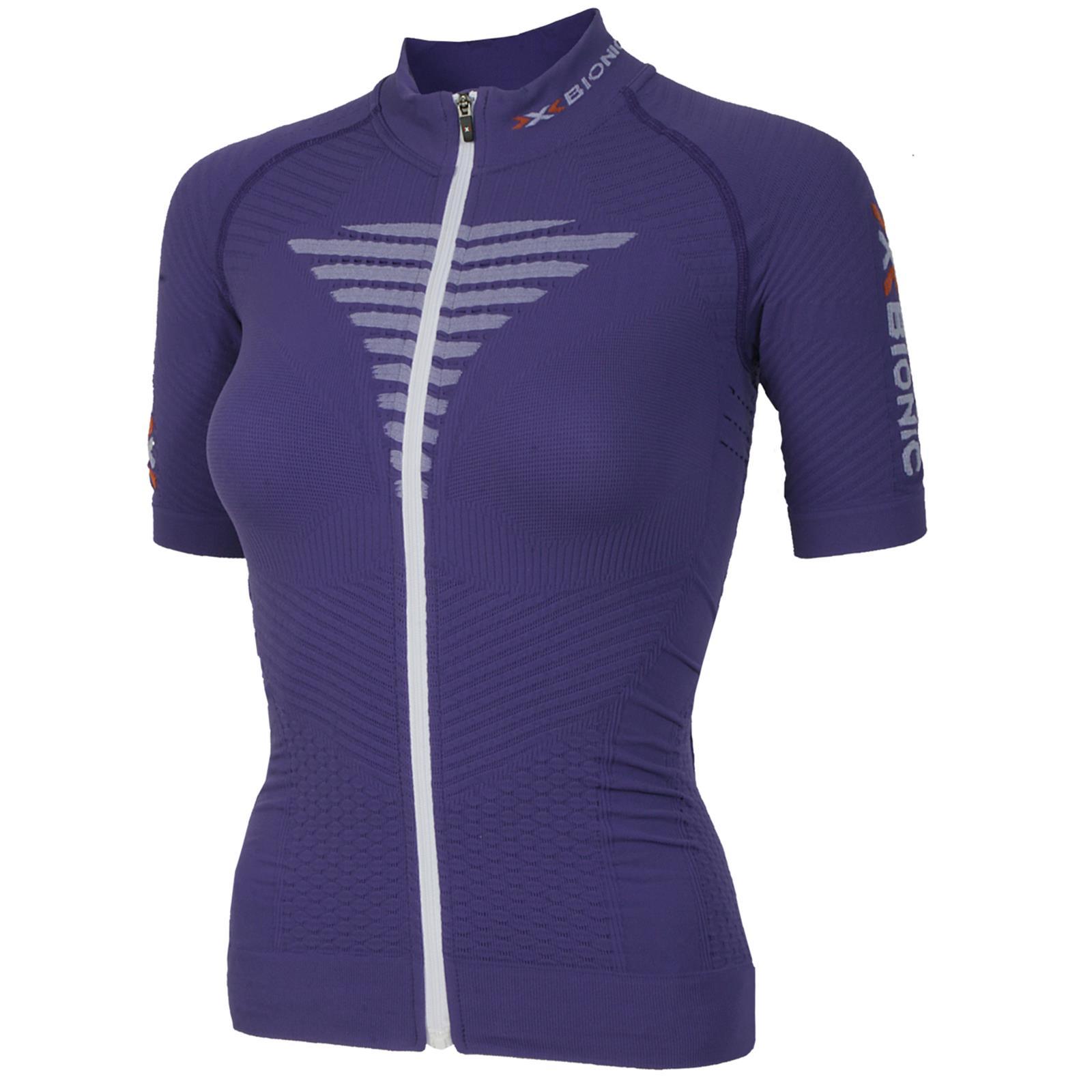 X-Bionic O020620 Biking Lady Effektor Shirt Damen Radtrikot Purple White Gr 38