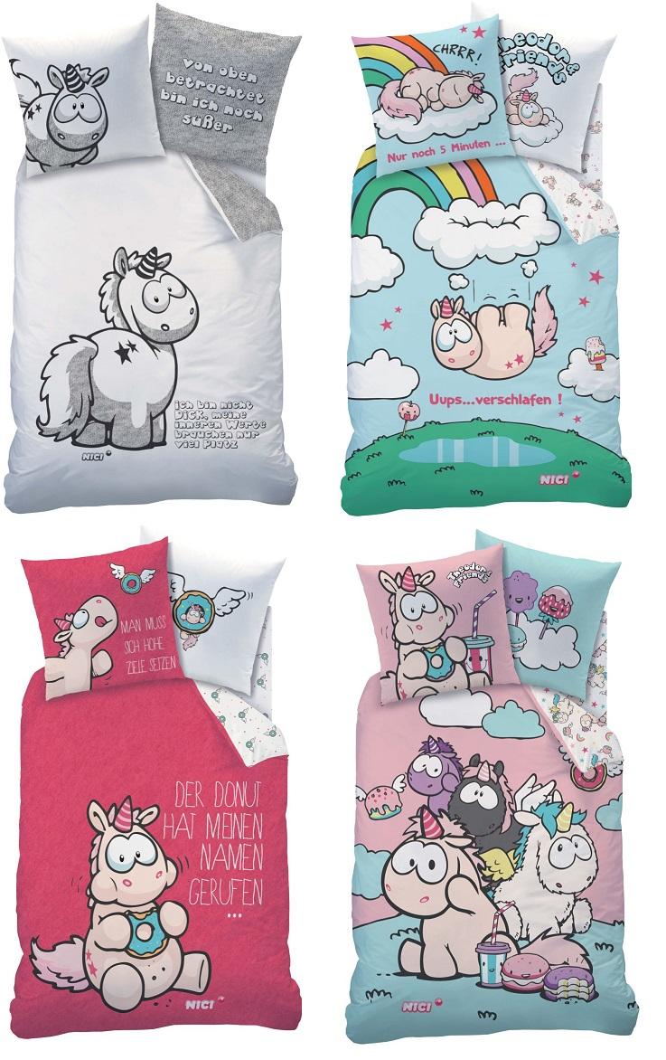 Auswahl Einhorn Bettwäsche 135x200 100 Baumwolle Nici Regenbogen