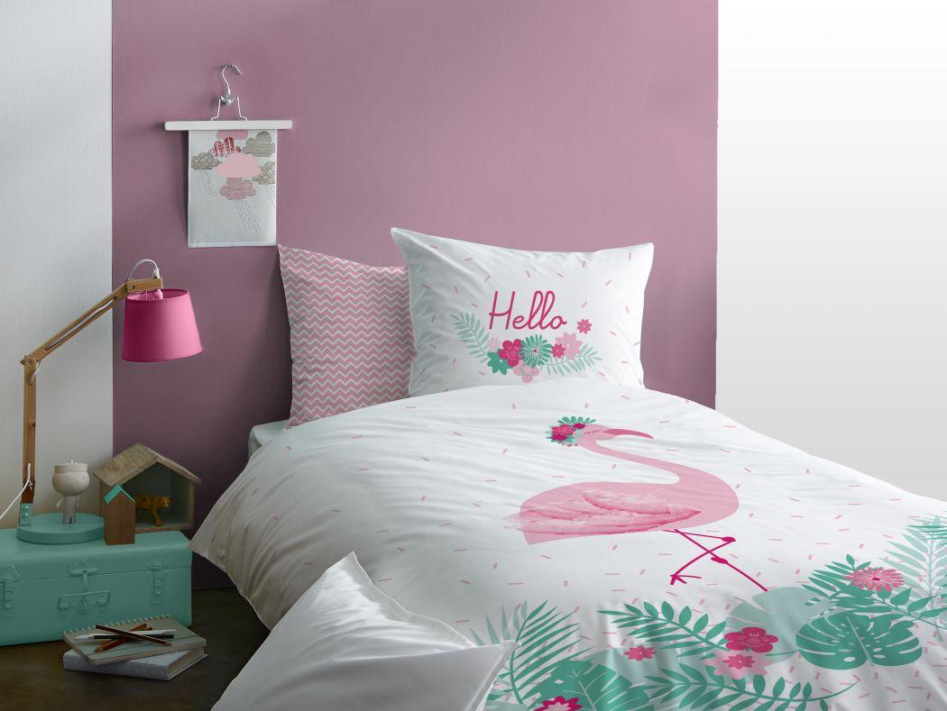 flamingo bettw sche set 135x200 80x80cm 100 baumwolle love blumen 45551 ebay. Black Bedroom Furniture Sets. Home Design Ideas