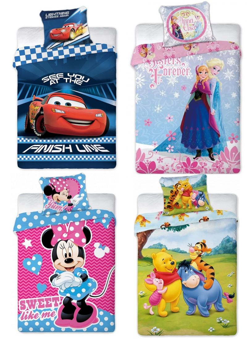 disney eisk nigin oder cars bettw sche set linon 100x135 60x40cm rei verschluss ebay. Black Bedroom Furniture Sets. Home Design Ideas