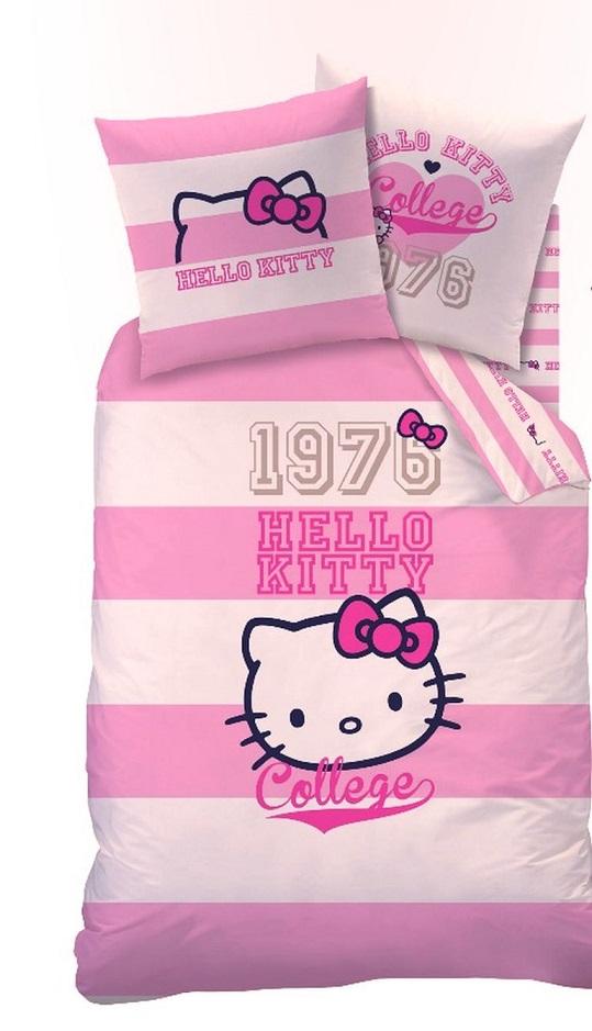 wende bettw sche set hello kitty 135x200 80x80 linon brittany gestreift 40722 ebay. Black Bedroom Furniture Sets. Home Design Ideas