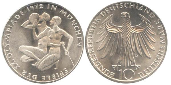 10 Dm Brd Münze Olympisches Sportlerpaar 1972 D Vz