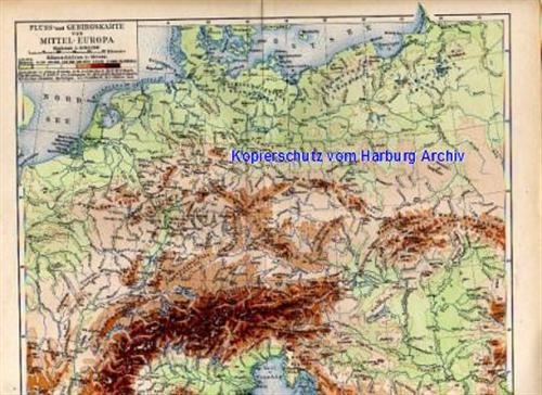 Stich Von 1893 Geo Karte Von Mitteleuropa Fluss Gebirgssysteme