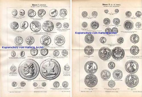 Orig Stich Aus 1893 Münzen I Ii Vom Altertum Bis Mittelalter