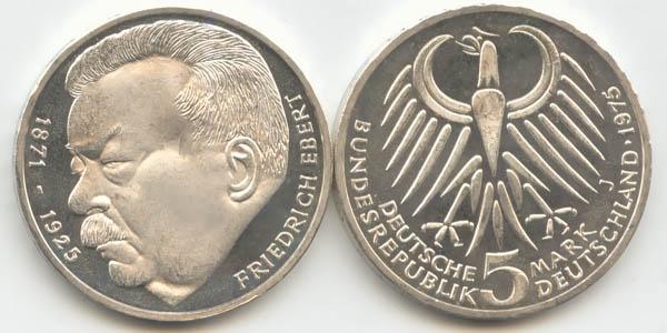 5 Dm Brd Münze Friedrich Ebert 1975 J Vz
