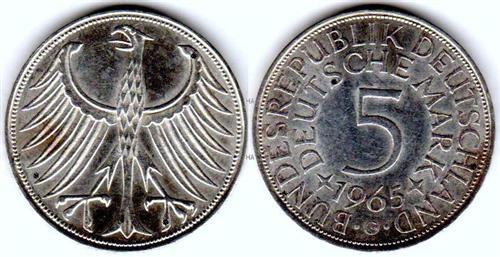 5 Dm Brd Münze Mercator 1969 F Vz