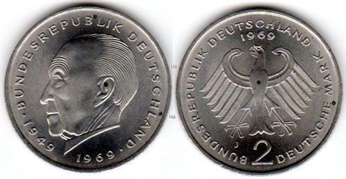 2 Dm Brd Münze Max Planck 1964 F Vz