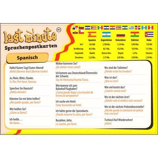 Last-Minute Postkarte Spanisch. Die wichtigsten Sätze für den Urlaub ...