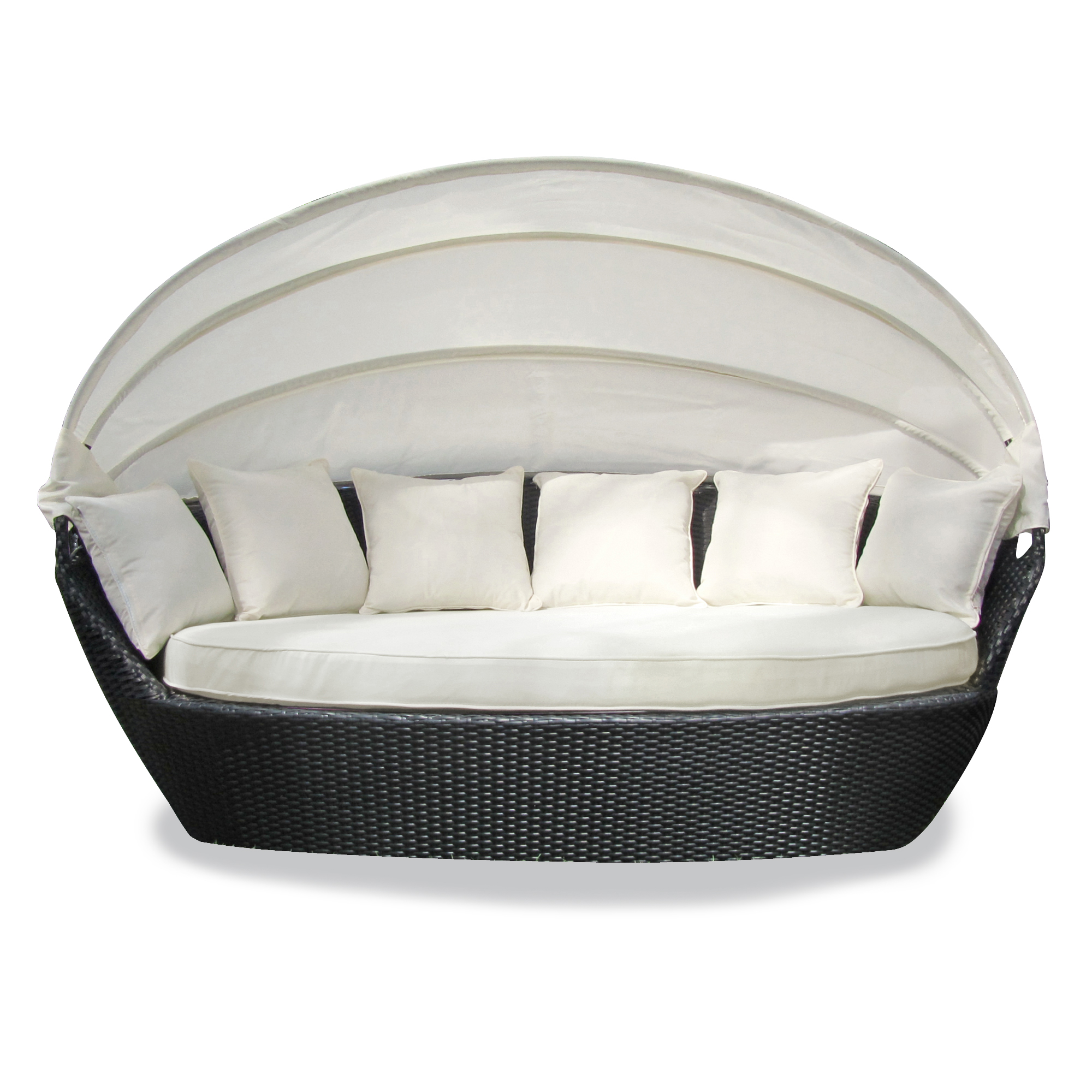 Xxl premium poly rattan sonneninsel sonnenliege strandkorb for Rattan lounge sofa garten