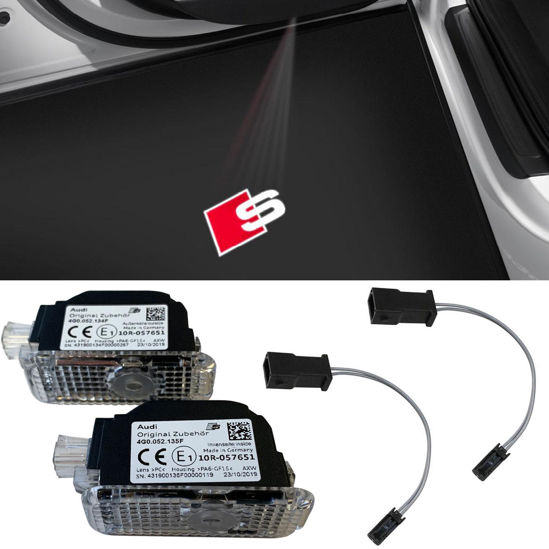Adapter für viele Audi Original Audi Qauttro LED Einstiegsbeleuchtung Tür Logo