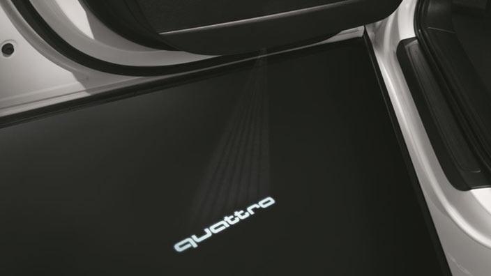 original audi led einstiegsbeleuchtung emblem schriftzug. Black Bedroom Furniture Sets. Home Design Ideas