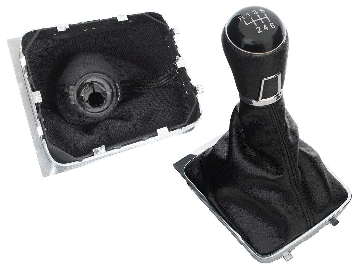 Schaltknauf Knauf Edition Leder Chrom Schwarz Naht Weiß für viele Fahrzeuge