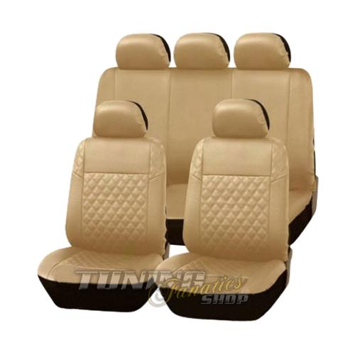 Premium cuir simili housse de si ge voiture carreau beige for Housse voiture cuir