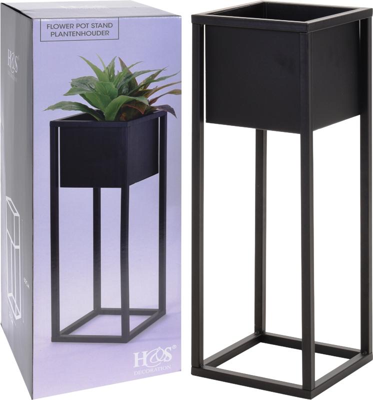 blumentopfst nder aus metall schwarz eckig 2 in versch gr en blumentopf blumen ebay. Black Bedroom Furniture Sets. Home Design Ideas