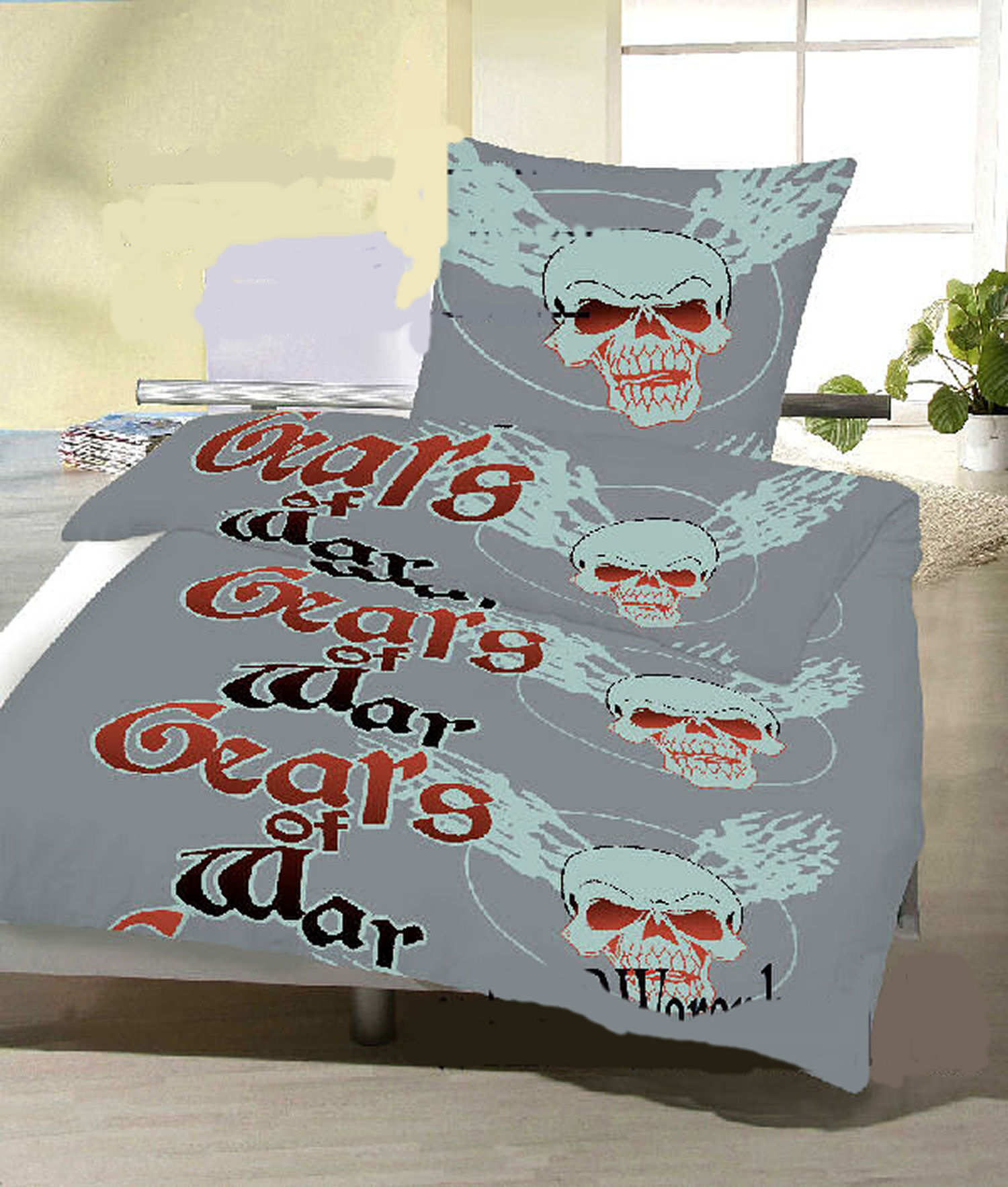 bettw sche set 2 tlg totenkopf grau rot bettbezug 135x200 kissenbezug 80x80 ebay. Black Bedroom Furniture Sets. Home Design Ideas
