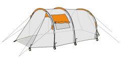 CampFeuer Tunnelzelt für 4 Personen, Modell 1018_3, Zelt, Zelte, Camping, Campen, Campingzelte, Campingzelt, Tunnel Zelt
