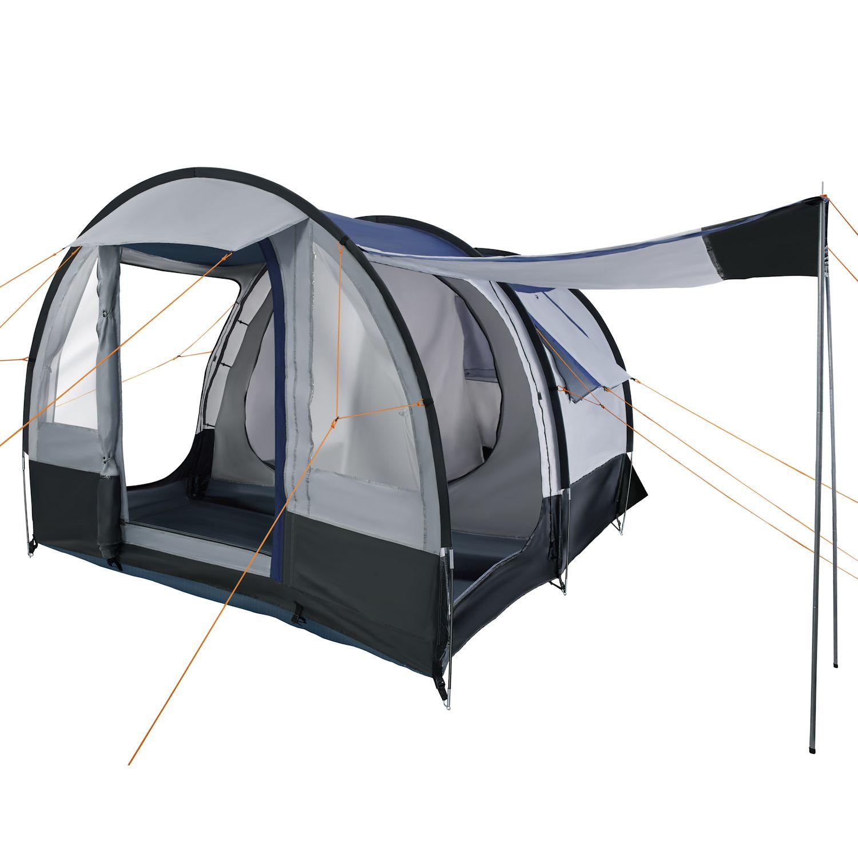 campfeuer tunnelzelt schwarz grau 4 personen 2000 mm. Black Bedroom Furniture Sets. Home Design Ideas