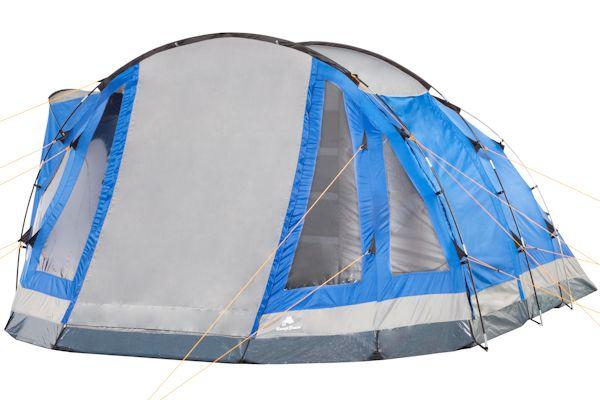 campfeuer tunnelzelt blau grau 5 personen 3000 mm ws. Black Bedroom Furniture Sets. Home Design Ideas