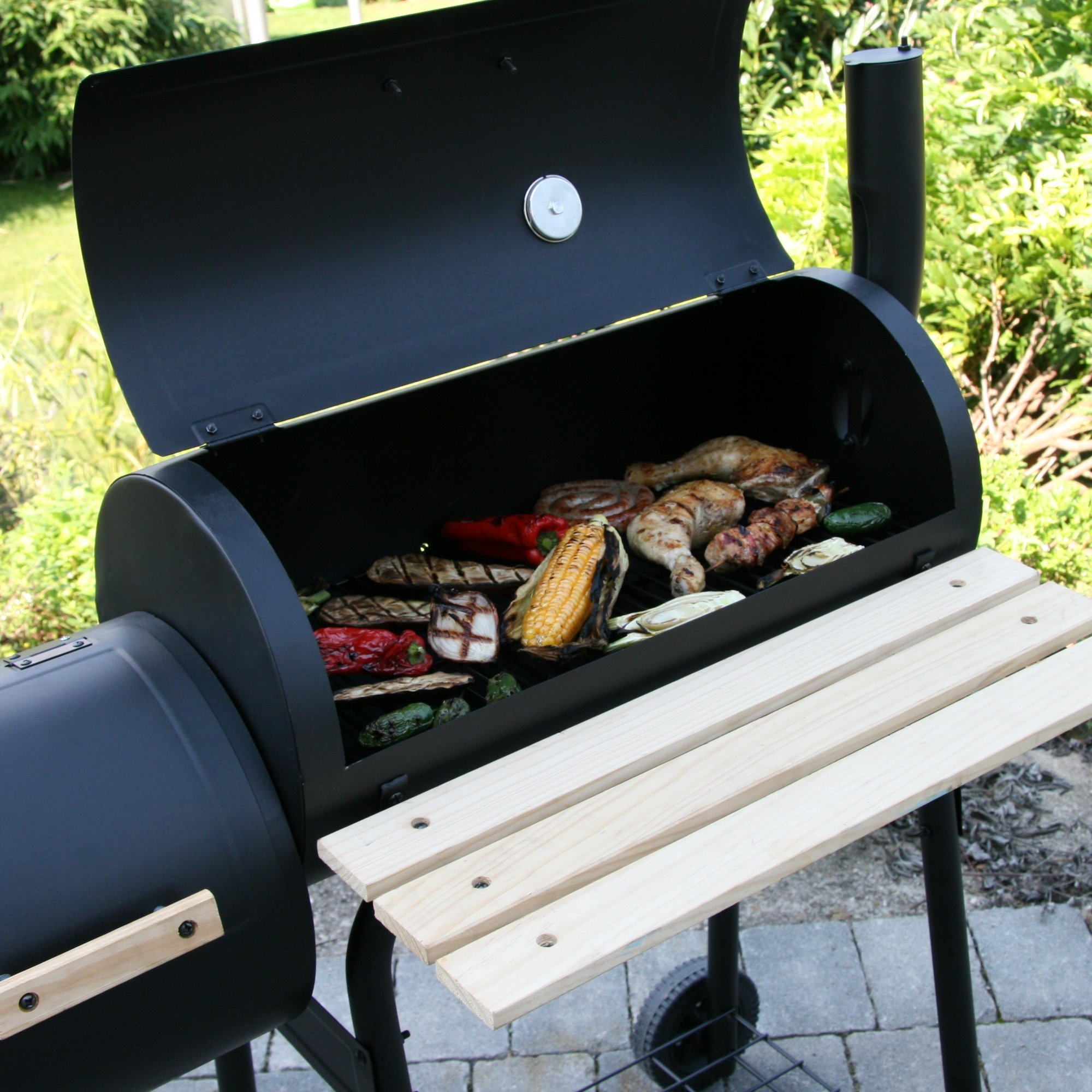 bbq toro smoker holzkohle grillwagen magnolia mit feuerbox bbq holzkohlegrill ebay. Black Bedroom Furniture Sets. Home Design Ideas