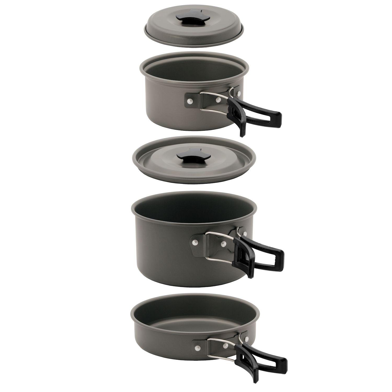11 tlg aluminium camping kochset kochgeschirr set mit. Black Bedroom Furniture Sets. Home Design Ideas