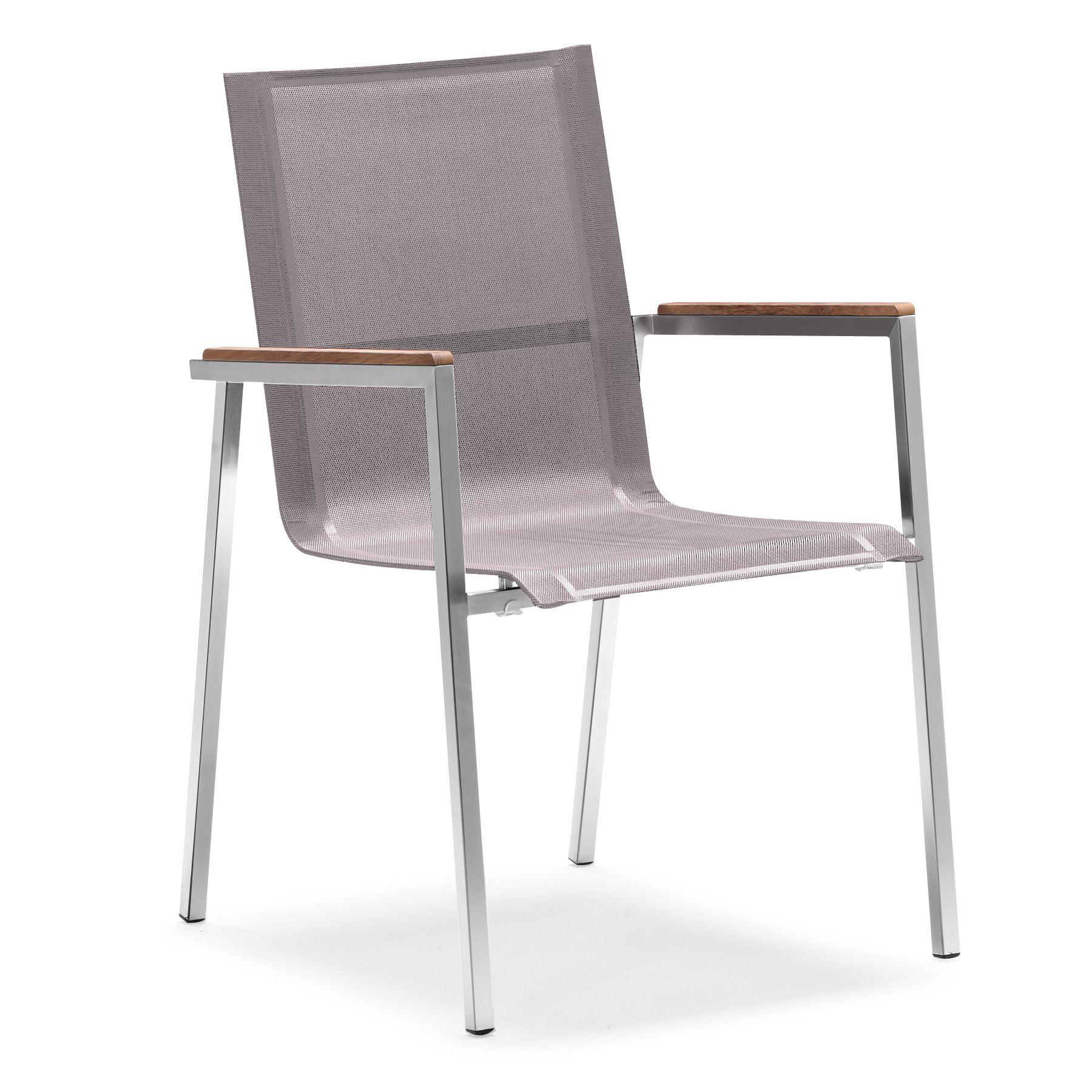 zelsius gartenstuhl premium edelstahl textilene mit teak armlehne taupe 4260120779125 ebay. Black Bedroom Furniture Sets. Home Design Ideas