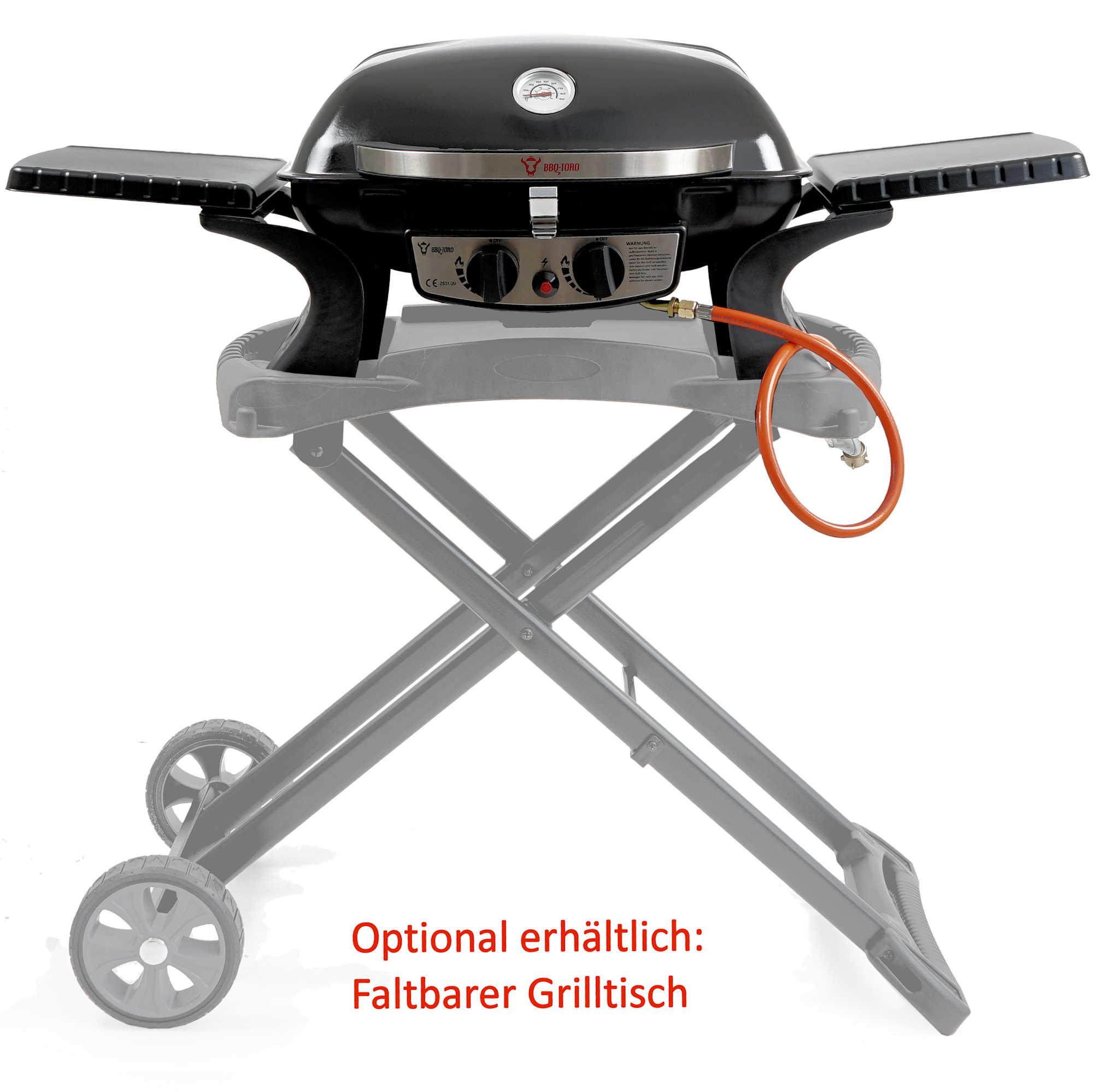 Details zu BBQ Toro Tragbarer Tisch Gasgrill 2 Brenner | kompakter Tischgasgrill für Balkon