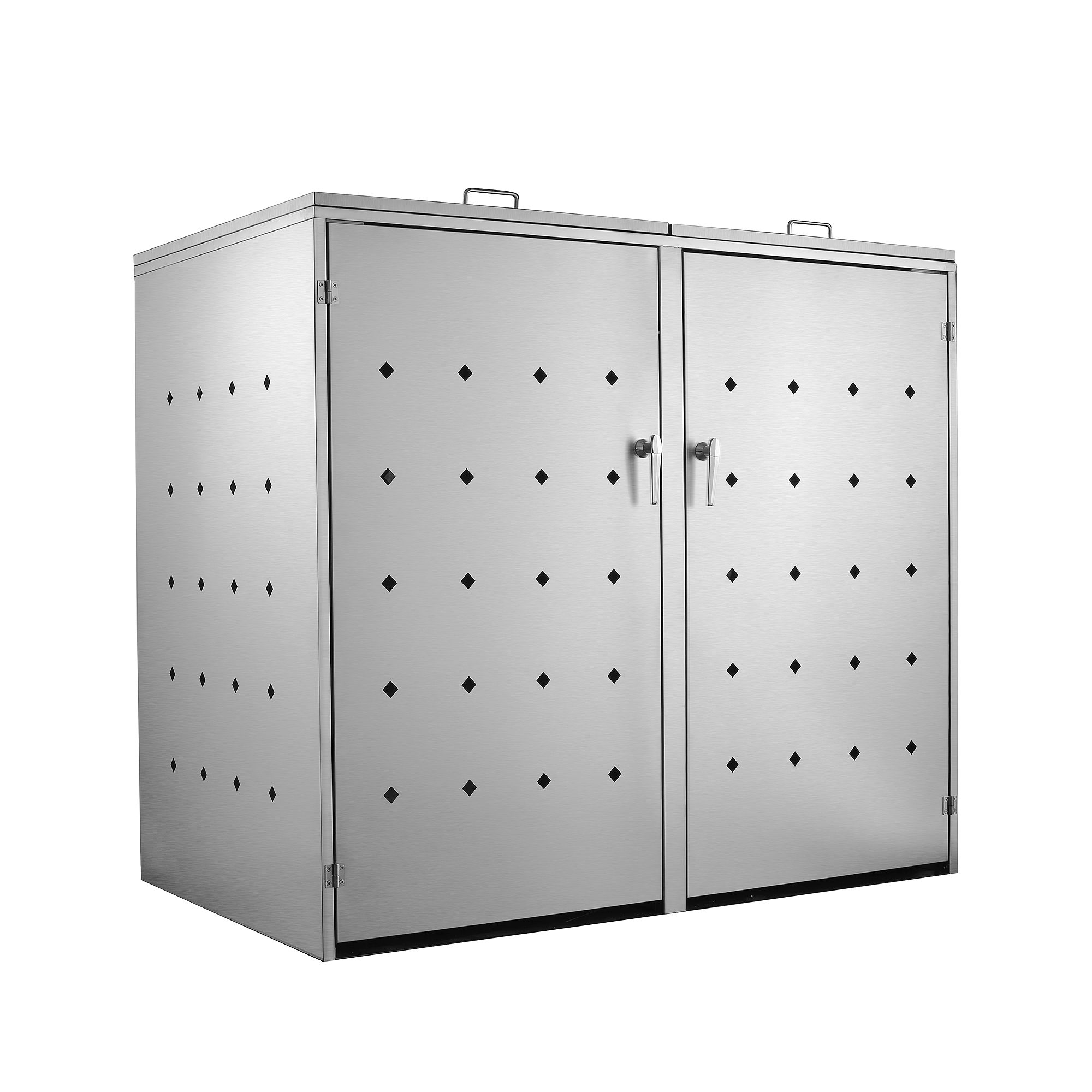 edelstahl mülltonnenbox rhombus 2er müllbox mülltonnenverkleidung